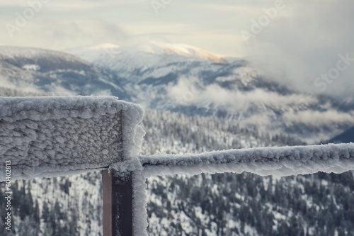 Frozen balcony railing