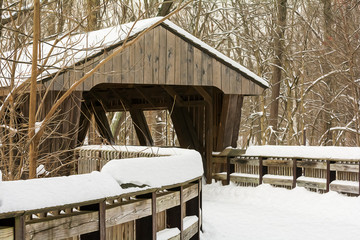 Snowy Winter Covered Bridge Painting