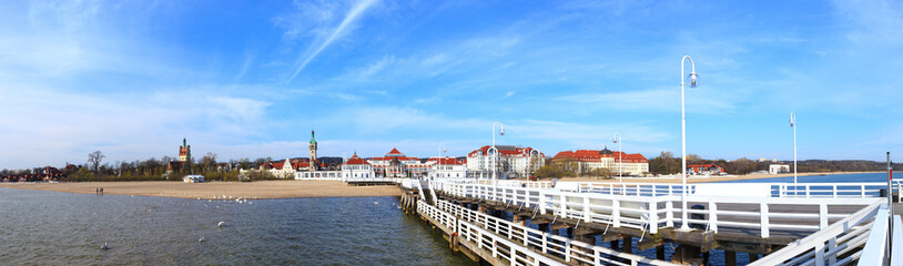 Beautiful Sopot city scenery in panoramic view, Poland.
