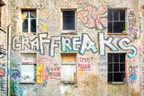 Ruined building with graffiti in Berlin