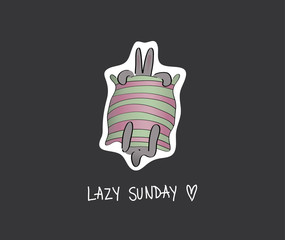 Lazy SUNDAY / Card with tired RABBIT under striped duvet