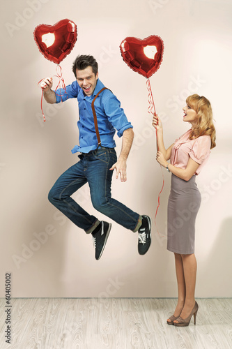 Cute woman with her valentine's boyfriend