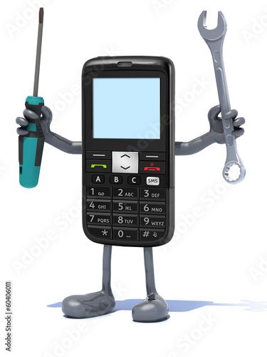 cellphone with arms and tool on hands