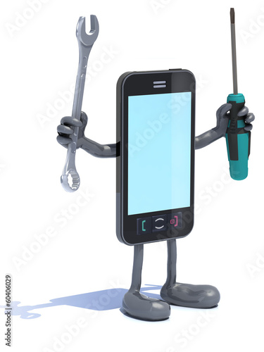 smartphone with arms and tool on hands