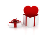 Heart flying out from gift box
