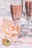 Ring in pink champagne with flowers