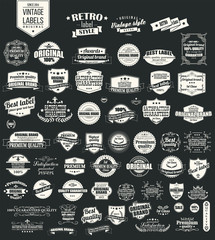 Collection of vintage retro labels, badges, typographic, vector