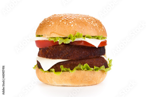 big hamburger on a white background