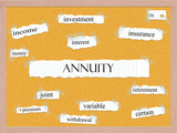 Annuity Corkboard Word Concept poster