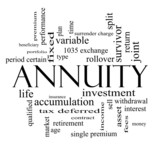 Annuity Word Cloud Concept in black and white poster