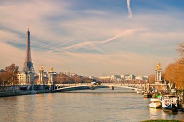 Tour Eiffel and Alexandre III bridge, Paris - France