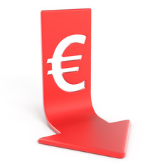 Euro down, isolated on white background