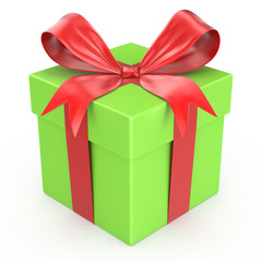 Green gift box with red ribbon bow