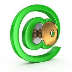 E-mail symbol with key