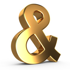 3d golden ampersand on white isolated background