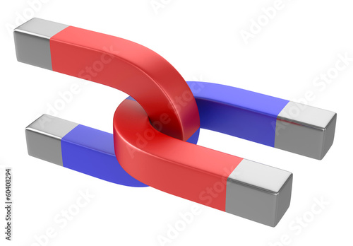 Horseshoe magnets isolated on white background