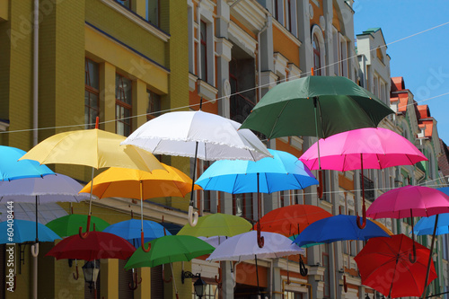 Hanging umbrellas