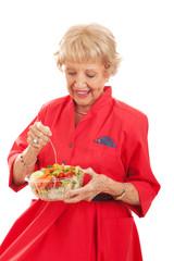 Senior Lady Eating Healthy Salad
