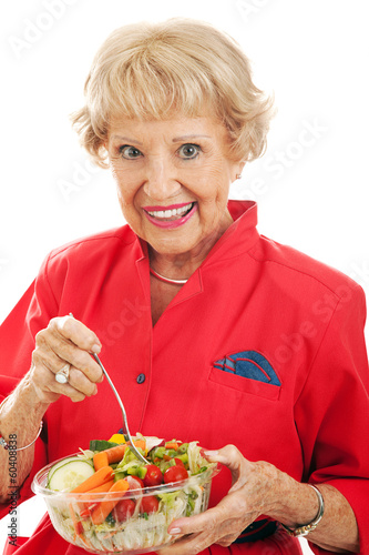 Senior Woman Eats Salad