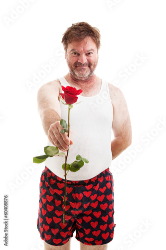 Scruffy Lover with One Rose