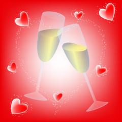 copas champan san valentin