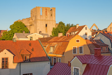 Rooftops and a medieval fortress in Visby, Sweden