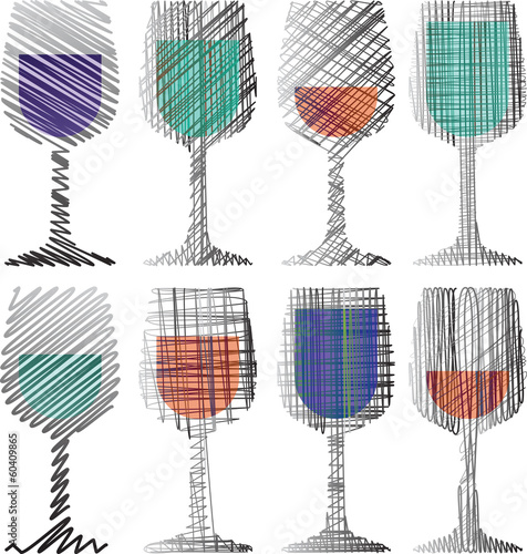 Wine glasses illustration