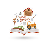 Open book and icons of vegetable garden. Concept of education