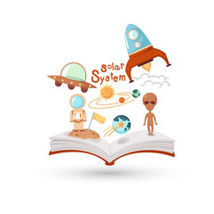 Open book and icons of science. Concept of education