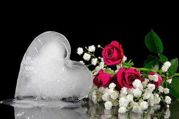 melting ice heart with roses