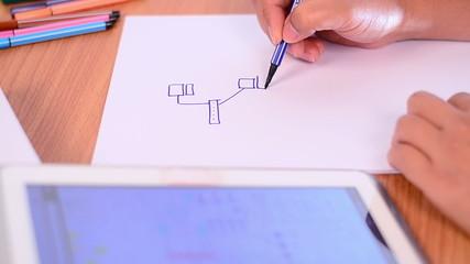 Engineer drawing internet network design
