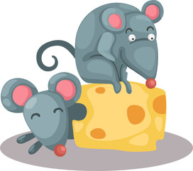 cartoon mouse eating a piece of cheese
