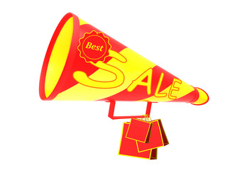 Sale labels and megaphone on a white background