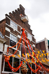 House in Amsterdam decorated with orange flags