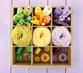 Multicolored skeins of thread and buttons in box closeup