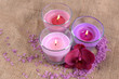 Composition with beautiful colorful candles, sea salt and