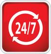 Красный векторный значок 24,7