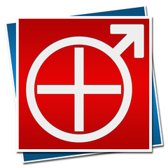 Mens Health Sign Red Blue