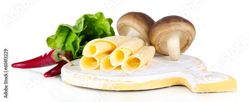 Cream cheese with vegetables and greens isolated on white