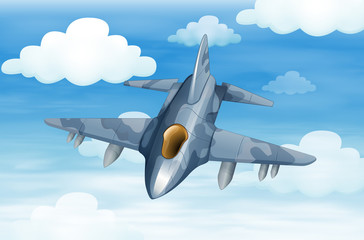 A military aircraft in the sky