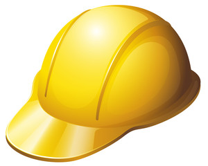 A yellow safety helmet