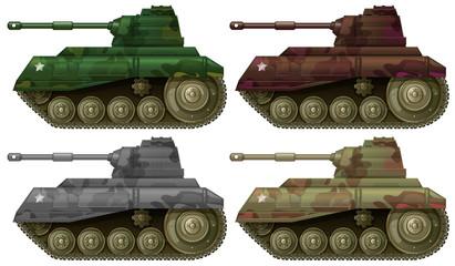 Four combat tanks