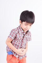 Little boy showing stomach pain