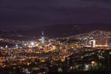 Sarajevo cityscape view at night poster