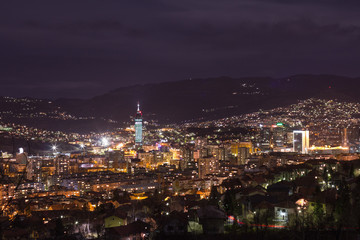 Sarajevo cityscape view at night