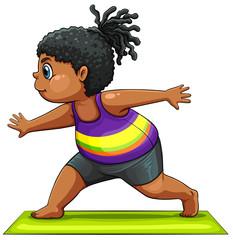 A girl doing yoga