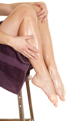 Woman wet legs up in towel