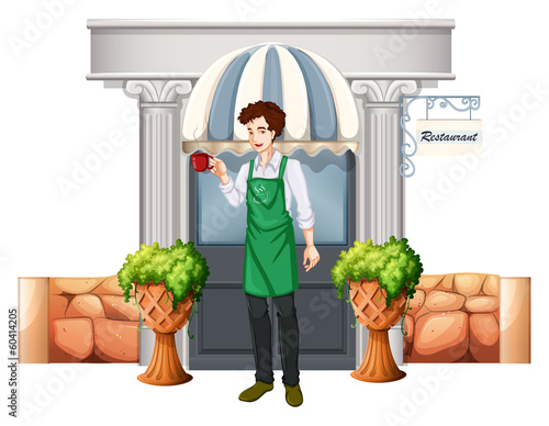 A barista outside the restaurant