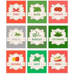 labels, garlic, basil, chili, pepper ,mint, paprika