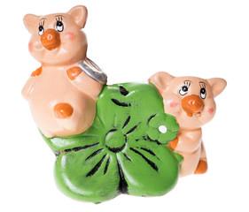 Glücksschweine mit Glücksklee
